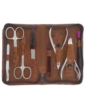 8 teiliges Profi Maniküre und Pediküre Etui aus echtem Leder mit Reißverschluss - Tenartis Made in Italy