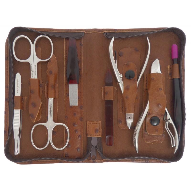 Set Manucure et Pedicure Professionnel 8 pièces en Cuir avec Fermeture à Glissière - Tenartis Fabriqué en Italie