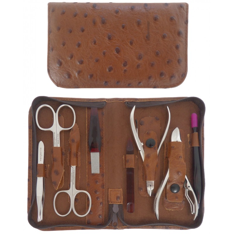 8-Piece Genuine Leather Professional Manicure and Pedicure Set with Zipper - Tenartis Made in Italy