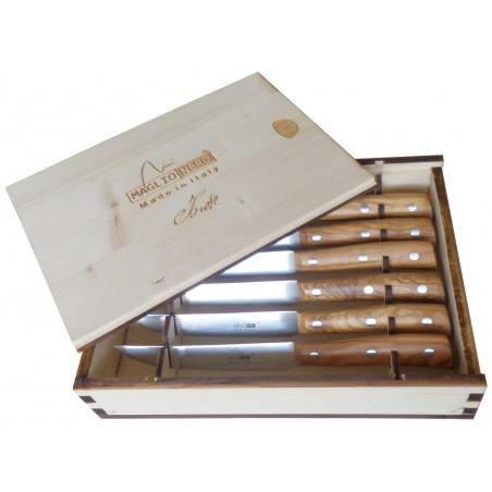 Set 6 Coltelli da Bistecca Linea Iside, Lama 12 cm con Manico in Ulivo