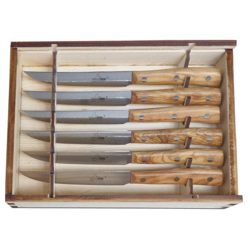 6 Stück Steakmesser 12 cm Iside Linie mit Olivenholz Griffe - Maglio Nero Made in Italy