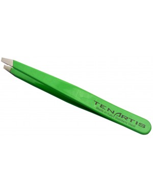 Neon Green Slant Hair Tweezers Stainless Steel - Tenartis Made in Italy