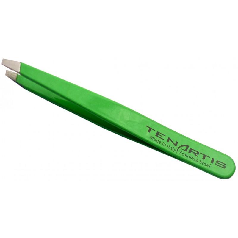 Neon Green Slant Hair Tweezers Stainless Steel - Tenartis Made in Italy
