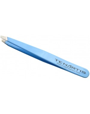 Sky Blue Slant Hair Tweezers Stainless Steel - Tenartis Made in Italy
