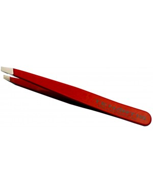 Red Slant Hair Tweezers Stainless Steel - Tenartis Made in Italy