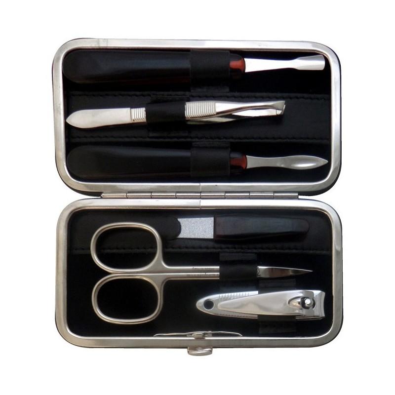 Set Manicura 6 Piezas en Piel Negro Nappa - Tenartis Made in Italy