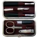 Set Manucure 6 pièces en Cuir Bordeaux Nappa - Tenartis Fabriqué en Italie