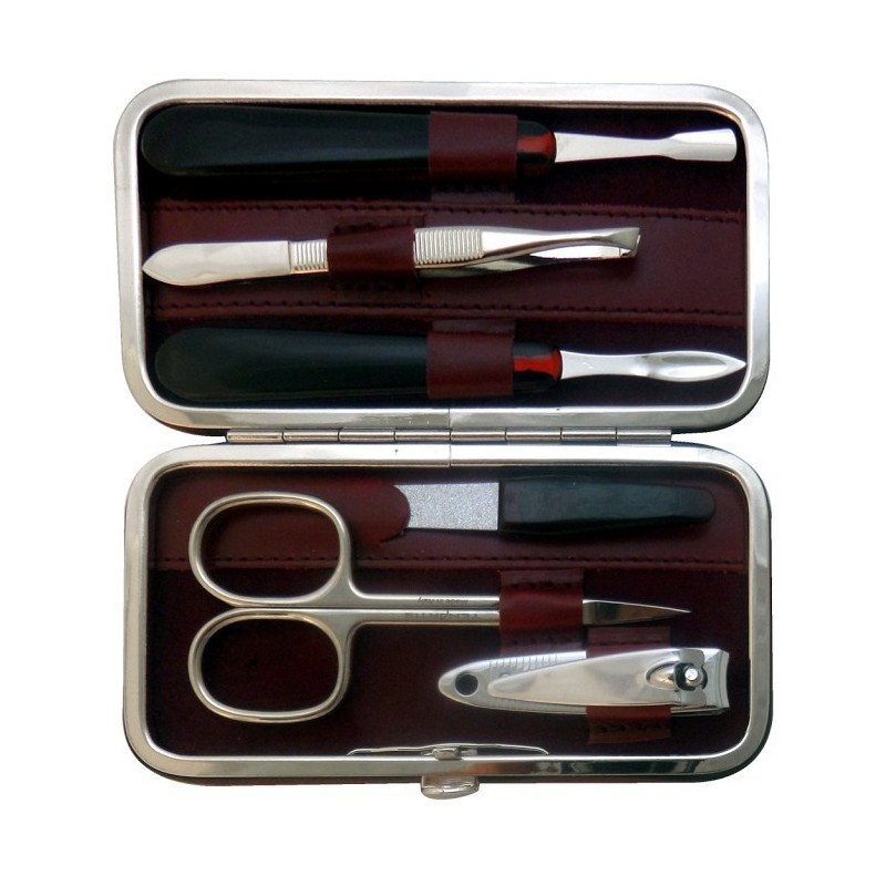6-Piece Burgundy Nappa Genuine Leather Manicure Set - Tenartis Made in Italy
