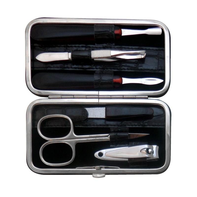 Set Manicure 6 Pezzi in Vera Pelle Grigio Croco Brillante - Tenartis Made in Italy