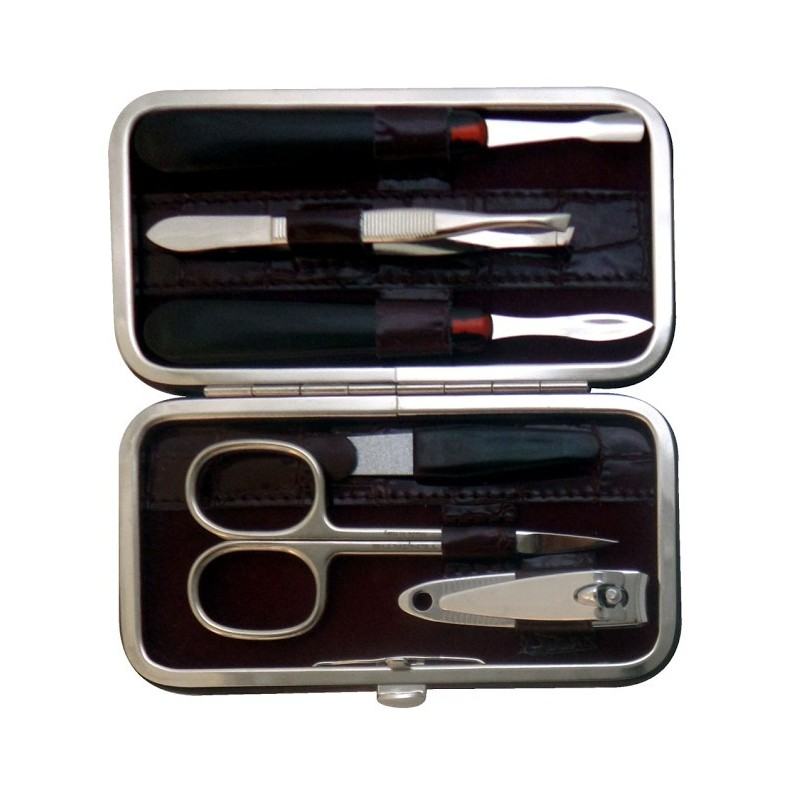 Set Manucure 6 pièces en Cuir Bordeaux Croco - Tenartis Fabriqué en Italie