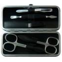 Set Manicure 5 Pezzi in Vera Pelle Nero Nappa - Tenartis Made in Italy