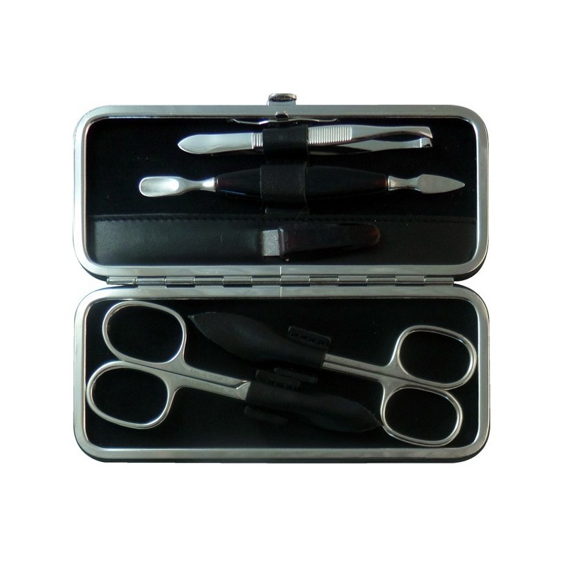 5-Piece Black Nappa Genuine Leather Manicure Set - Tenartis Made in Italy