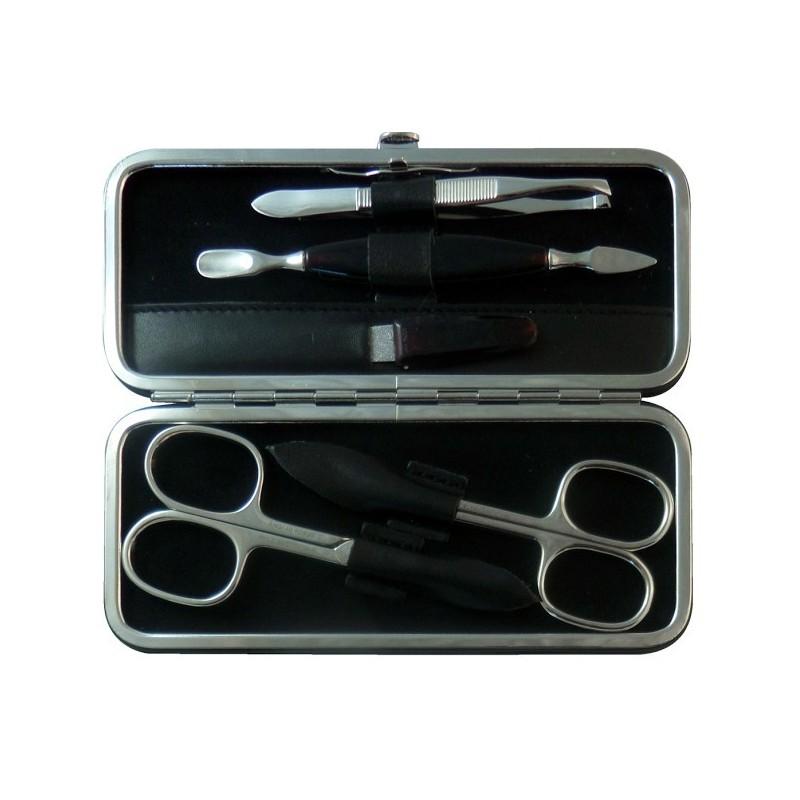 Set Manicura 5 Piezas en Piel Negro Nappa - Tenartis Made in Italy