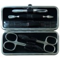5-Piece Grey Croco Genuine Leather Manicure Set - Tenartis Made in Italy