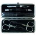 Set Manicure 5 Pezzi in Vera Pelle Grigio Croco - Tenartis Made in Italy