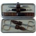 Set Manicure 5 Pezzi in Vera Pelle Marrone Croco - Tenartis Made in Italy