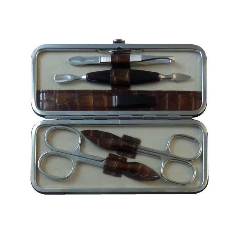 Set Manucure 5 pièces en Cuir Marron Croco - Tenartis Fabriqué en Italie