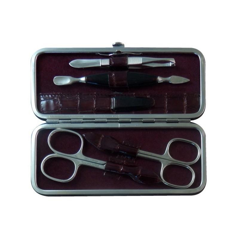 Set Manucure 5 pièces en Cuir Bordeaux Croco - Tenartis Fabriqué en Italie