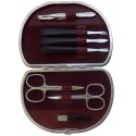 7 teiliges Maniküre Etui aus echtem Leder, Bordeaux Nappa - Tenartis Made in Italy