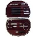 Set Manicura 7 Piezas en Piel Burdeos Nappa - Tenartis Made in Italy