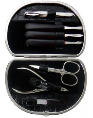 Set Manicure 7 Pezzi in Vera Pelle Grigio Croco - Tenartis Made in Italy