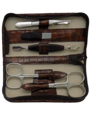 5-Piece Brown Croco Genuine Leather Manicure Set with Zipper - Tenartis Made in Italy