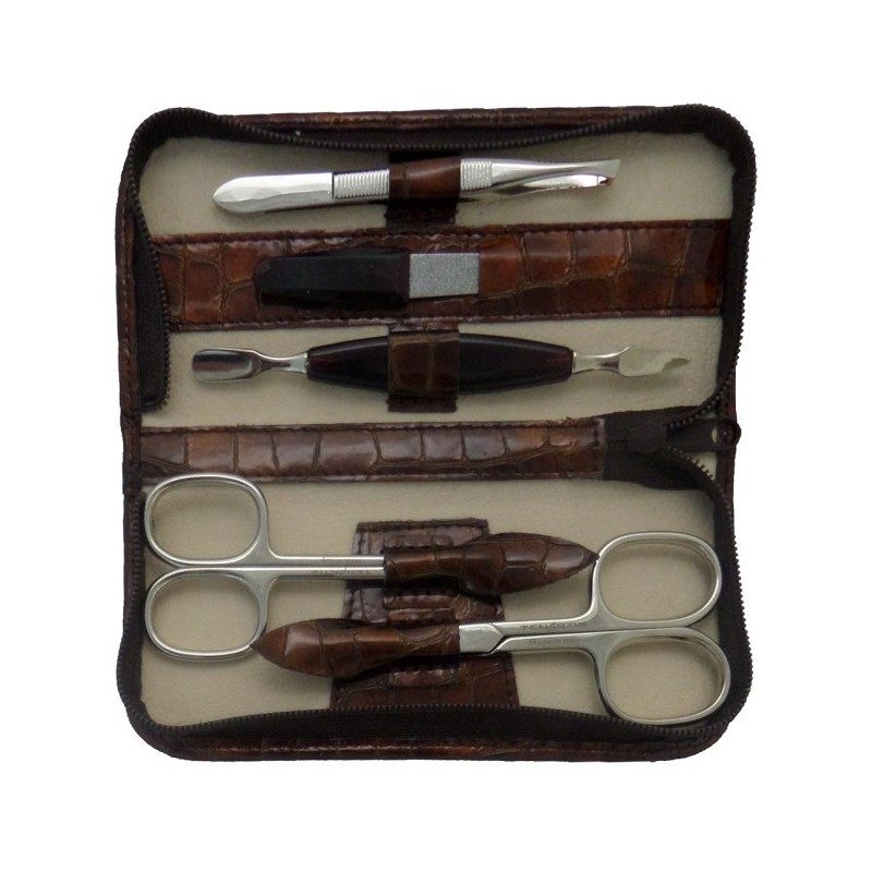 5-Piece Sniny Brown Croco Genuine Leather Manicure Set with Zipper - Tenartis Made in Italy