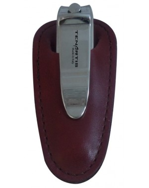 Nail Clipper with Burgundy Nappa Genuine Leather Case - Tenartis Made in Italy