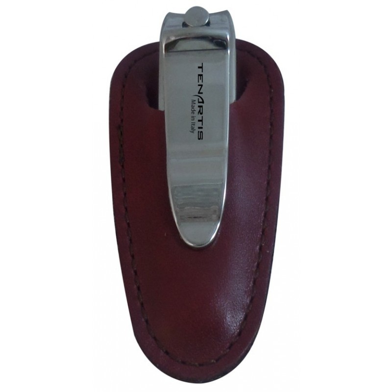 Nagelknipser mit Bordeaux Nappa Leder Etui - Tenartis Made in Italy