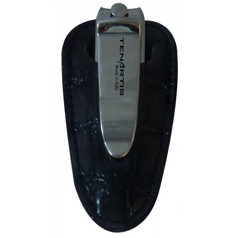 Tagliaunghie con Custodia in Pelle Croco Grigia - Tenartis Made in Italy