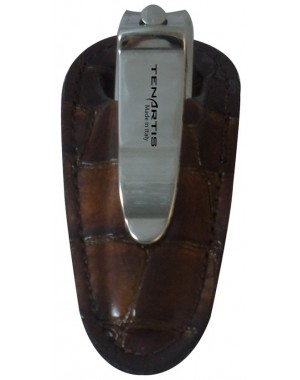Nail Clipper with Brown Croco Genuine Leather Case - Tenartis Made in Italy