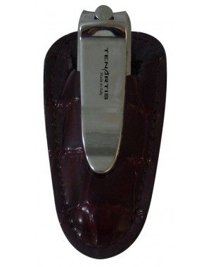 Tagliaunghie con Custodia in Pelle Croco Bordeaux - Tenartis Made in Italy