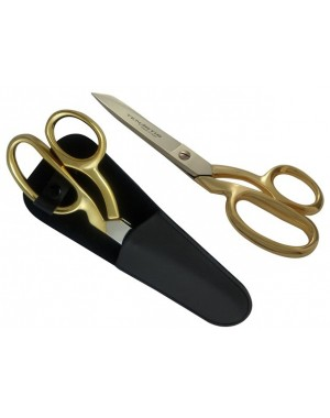 Fabric, Dressmaking, Sewing Scissors 20 cm/8 inch Gold-plated with Scabbard - Tenartis Made in Italy