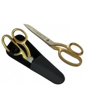 Stoffschere, Schneiderschere Vergoldet 20 cm mit Lederscheide - Tenartis Made in Italy