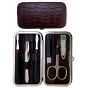 Set Manicure 6 Pezzi in Vera Pelle Bordeaux Croco
