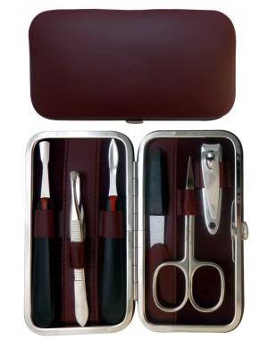 Set Manicure 6 Pezzi in Vera Pelle Bordeaux Nappa