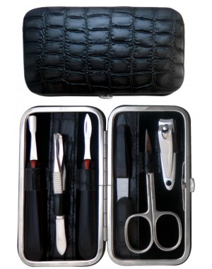 6-Piece Grey Croco Genuine Leather Manicure Set - Tenartis Made in Italy
