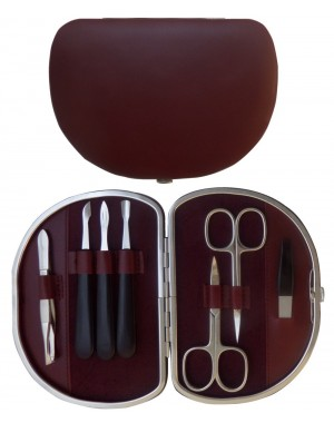 7-pc. Burgundy Nappa Genuine Leather Manicure Set - Tenartis Made in Italy