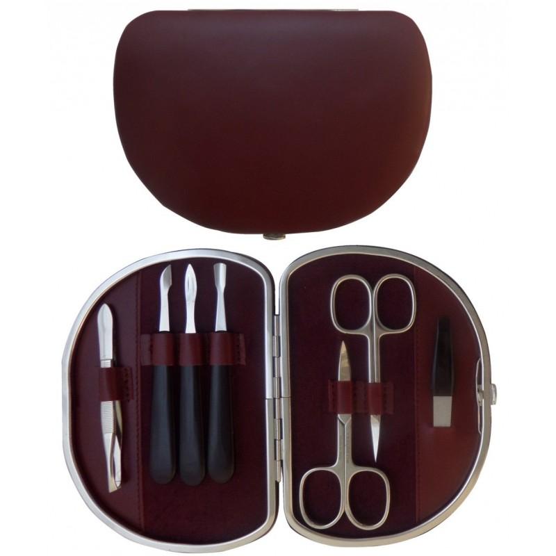 Set Manucure 7 pièces en Cuir Bordeaux Nappa - Tenartis Fabriqué en Italie