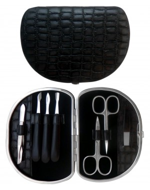 7 teiliges Maniküre Etui aus echtem Leder, Grau Croco - Tenartis Made in Italy
