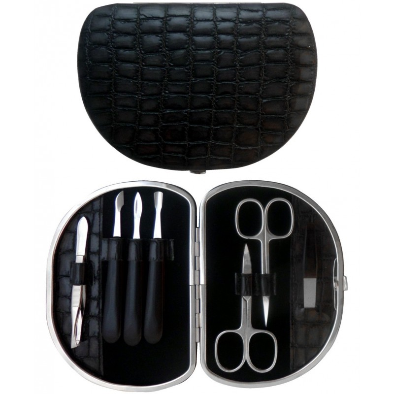 7-pc. Grey Croco Genuine Leather Manicure Set - Tenartis Made in Italy