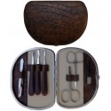 7-pc. Brown Croco Genuine Leather Manicure Set - Tenartis Made in Italy
