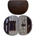 Set Manicure 7 Pz. in Vera Pelle Marrone Croco - Tenartis Made in Italy