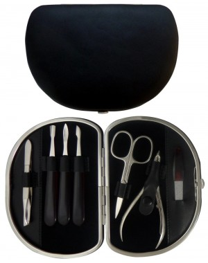 7 teiliges Maniküre Etui aus echtem Leder, Schwarz Nappa - Tenartis Made in Italy