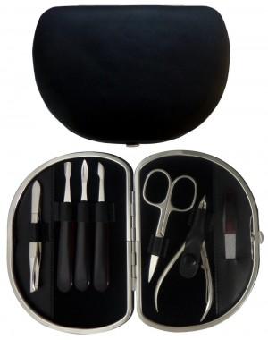 Set Manicura 7 Piezas en Piel Negra Nappa - Tenartis Made in Italy
