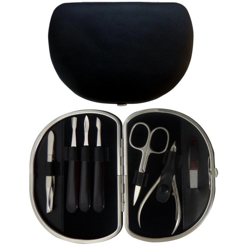 Set Manucure 7 pièces en Cuir Noir Nappa - Tenartis Fabriqué en Italie