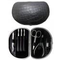 7-Piece Grey Croco Genuine Leather Manicure Set - Tenartis Made in Italy