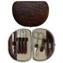 Set Manicure 7 Pezzi in Vera Pelle Marrone Croco - Tenartis Made in Italy