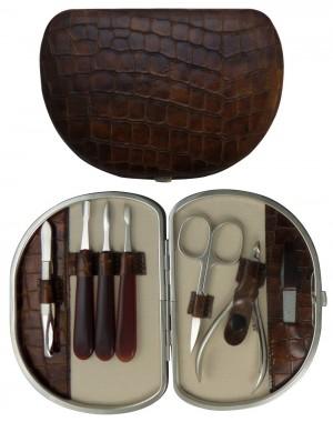 Set Manicura 7 Piezas en Piel Marrón Croco - Tenartis Made in Italy