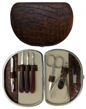 Set Manicure 7 Pezzi in Vera Pelle Marrone Croco - Tenartis Made in Italy